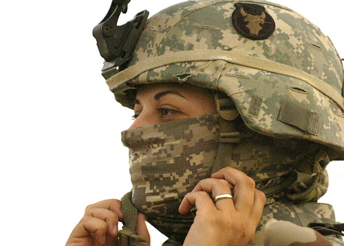 Female Soldier buttons chin strap